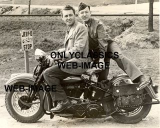 1943 Jeep O Stop Harley Davidson Motorcycle Photo WWII