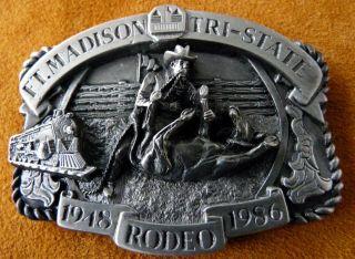 Vintage Fort Madison Iowa Tri State Rodeo Cowboy Calf Roping Belt
