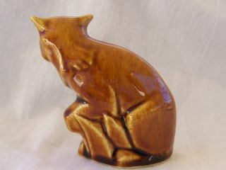 McCoy 1940s Miniature Cat Figurine Brown Drip Glaze 3 Mint Very RARE