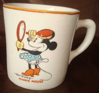 Vtg 1930s Walt Disney Mickey Mouse Minnie Divided Plate Cup by