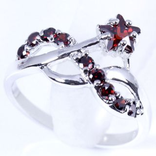 K4143 Ring Size5 25 Red Garnet Silver Handcraft 168JEWELRY