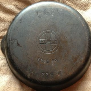 Vintage Griswold Cast Iron Erie PA 5 724 K Skillet Clean Flat Bottom