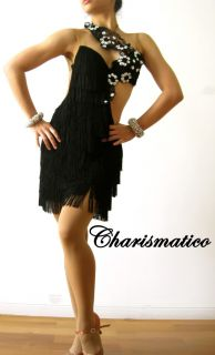Custom Cha Samba Fringe Black Salsa Latin Dance Dress
