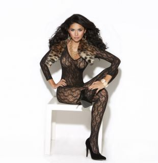 LONG SLEEVE LACE BODYSTOCKING LINGERIE PIN UP HOSIERY BURLESQUE