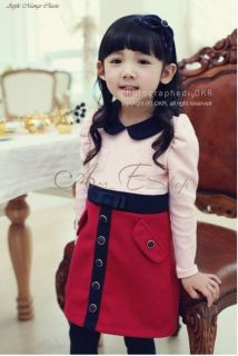 Girls Kids One Piece Long Sleeve Dress Tutu Skirt Clothing Cotton