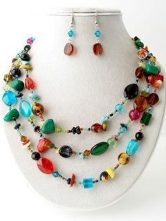 MULTI COLOR 3 LAYERS GLASS AND STONE BEAD NECKLACE EARRING