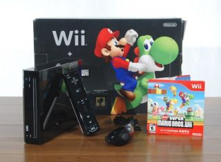 Wii Black Console Hardware Bundle New Super Mario Bros Game Motionplus