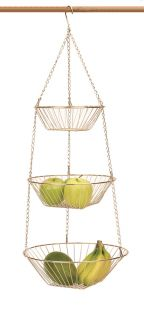 rsvp copper 3 tier hanging wire fruit basket new