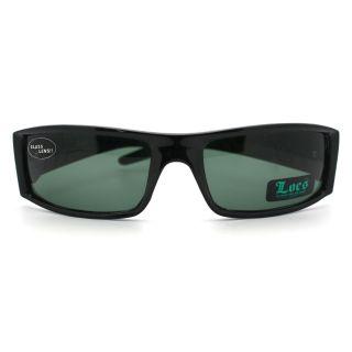 Locs Mens Sunglasses Biker Gangster Style Rectangular All Black Glass