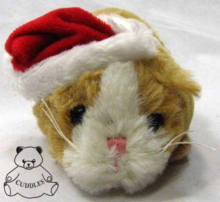Lil Guinea Pig Ganz Plush Toy Stuffed Animal Tan White Christmas Santa