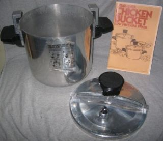 CHICKEN BUCKET Low Pressure Fryer Cooker 6 Quart Instructions Label