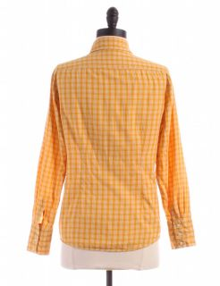 Gap Mustard Yellow Ruffle Front Button Up Sz s Top Blouse Shirt Plaid