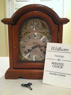 Waltham Tempus Fugit Mantle Clock 31 day pendulum key wind up clock w