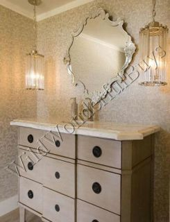 Venetian Framed Wall Mirror Serpentine Vanity Bathroom Etched Edge New