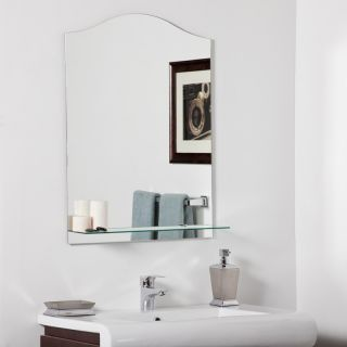 31 5 Arched Top Modern Frameless Wall Mount Mirror with Glass Shelf