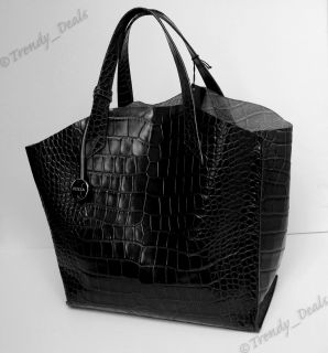 Furla Croco Embossed Leather Jucca Tote Hobo Bag Handbag Black Large
