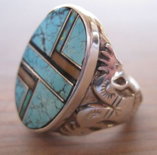 Sterling Inlaid Oval Turquoise Sugilite Opal Ring Signed R Francisco