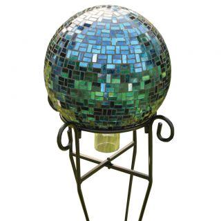 Gazing Ball Bird Brain 10501061 Gazing Globe Geometric Mosaic Blue