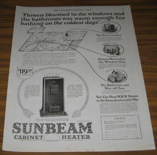 1924 Ad Sunbeam Cabinet Heaters Fox Furnace Elyria Ohio
