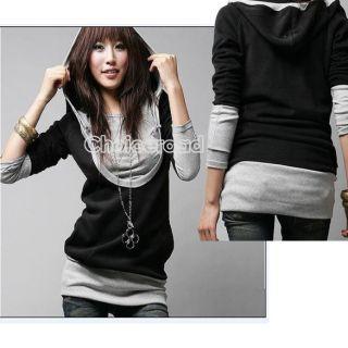 Hot Fashion Korea Lady Long Sleeve Cotton Tops Dress Hoodie Coat C99D