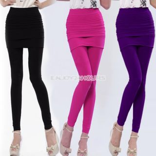 Women EN24H Nylon Full Skirt Footless Stretch Seamless Pants Legging