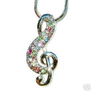 Crystal Pastel Musical Note TREBLE g CLEF MUSIC Pendant Necklace NEW