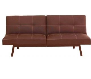 Back Brown Faux Leather Futon Couch Sofa Chair Convertible New