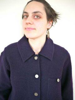 Herman Geist Womens Boiled Wool Navy Blue Shirt Jacket