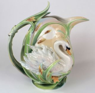 FZ01570 Franz Porcelain Southern Swan Splendor Large Pitcher Beautiful