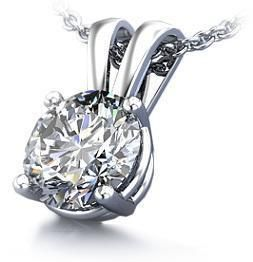 Ctw Diamond Jewelry 14Kt White Gold Solitaire Pendant Necklace