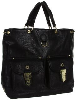 STEVE MADDEN STEVEN BANNIE FAUX LEATHER BLACK TOTE SHOULDER BAG *FREE