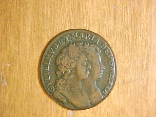 1692 William Mary Half Penny Ireland Irish Coin US Colonial Must See