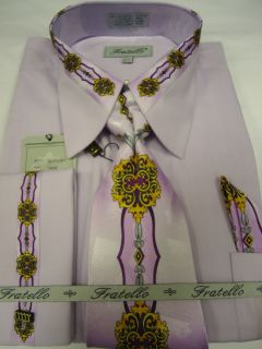 Mens Fratello Lavender Purple Medallion French Cuff Dress Shirt Tie