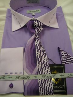 Mens Fratello Lilac Lavender French Cuff Dress Shirt Tie Hanky