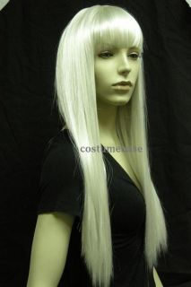 Long Straight Lady Wig G2 Blonde White Hair Costume