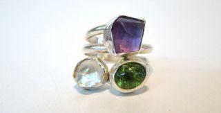 Stefano Gallucci Amethyst Peridot Diamond Ring Adj