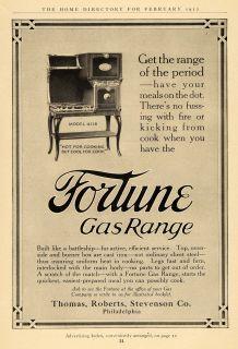 1912 Ad Fortune Gas Range Model 4118 Home Appliance Original