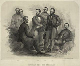Civil War Abraham Lincoln and His Generals Battle Vintage 13x19 Print