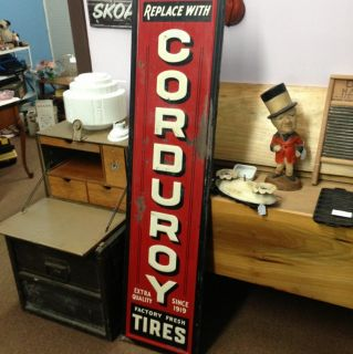 RARE Red Version Corduroy Tires Sign Embossed Tin on Wood