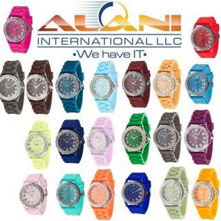 Geneva Quartz Classic Gel Silicone Wristband Wrist Watch Lady Women