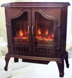New Free Standing Electric Fireplace 1500 Watt Heater Realistic Flame