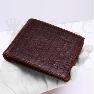 Brown Genuine Leather Billfold Wallet Zippered Pocket Purse SO HOT