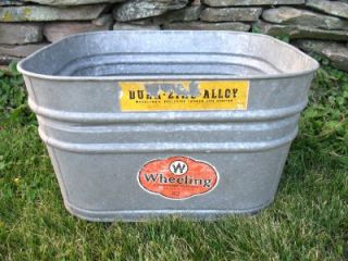 Vtg Wheeling Galvanized Steel Zinc Wash Tub Planter Cooler with Labels