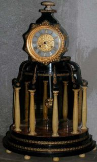 Antique French Gautier Aldinet Paris Portico 6 Column Clock Japy