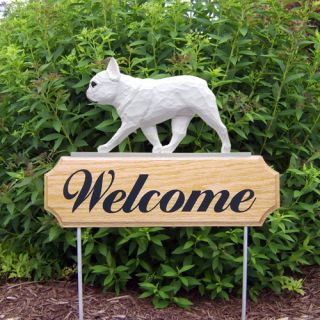 French Bulldog Dog Figure Welcome Sign Stake Home Yard Garden Dog