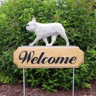 French Bulldog Dog Figure Welcome Sign Stake Home Yard Garden Dog