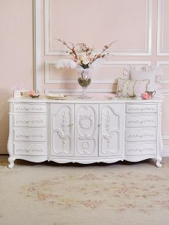 Stunning French Chic 11 Drawer Dresser with Folding Doors in White