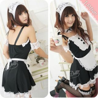 Sexy Outfit Women French Maid Costume Garter Suspenders Cosplay Fancy