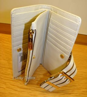 New Michael Kors Gansevoort Leather Continental Wallet Vanilla White
