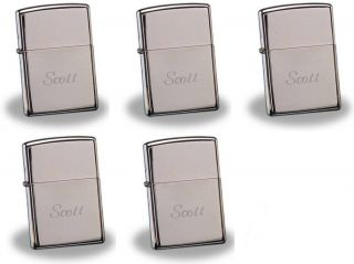 Pcs Personalized Zippo High Polish Chrome Lighter Groomsmen Gifts